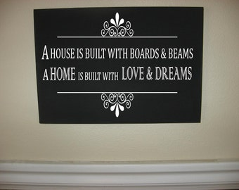 Custom Personalized Wooden sign-A House Is Built With Boards And Beams A Home Is Built With Love And Dreams