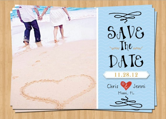 Items similar to Printable Save The Date Cards - Beach Theme ...