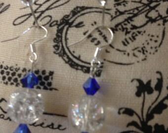 Crackle crystal beaded earrings