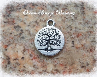 Tree Charm . Silver Plated Pewter
