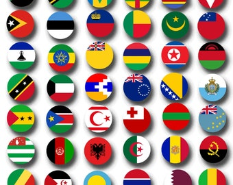 World Flags Printable Collage Sheets - 203 countries printable collage sheet - 1 inch circles