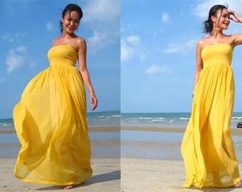 Yellow maxi dress | Etsy