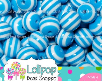 10mm LT BLUE STRIPED Beads Striped Resin Beads Round Plastic Beads Stripes Gumball Beads 50 Stripe Beads Bubble Gum Beads Bubblegum Beads