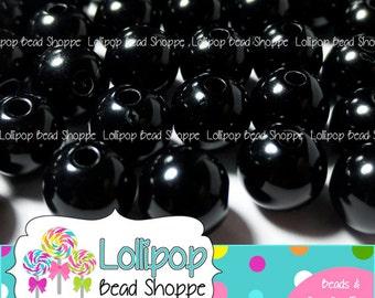 10mm Black Gumball Beads, Solid Acrylic Beads, Plain Bubblegum Beads, Round Gum Ball Beads, Plastic Bubble Gum Beads, Pkg of 50 or 100