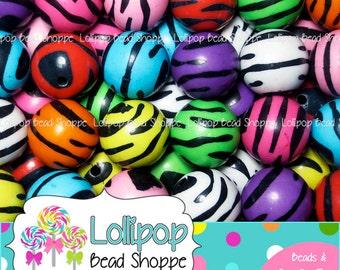 20mm ZEBRA Beads Colorful Chunky Beads Tiger Stripe Acrylic Animal Print Beads MIX Plastic Round Gumball Beads Bubblegum Beads AZB2