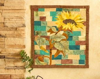 Hand painted fabric art quilt, wallhanging - Sunflower