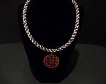 Pebblestone Wood Kumihimo Necklace