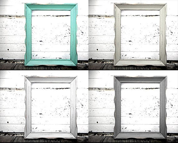 8x10 wavy frame rustic vintage frame in shabby chic distressed aqua mint off white oyster