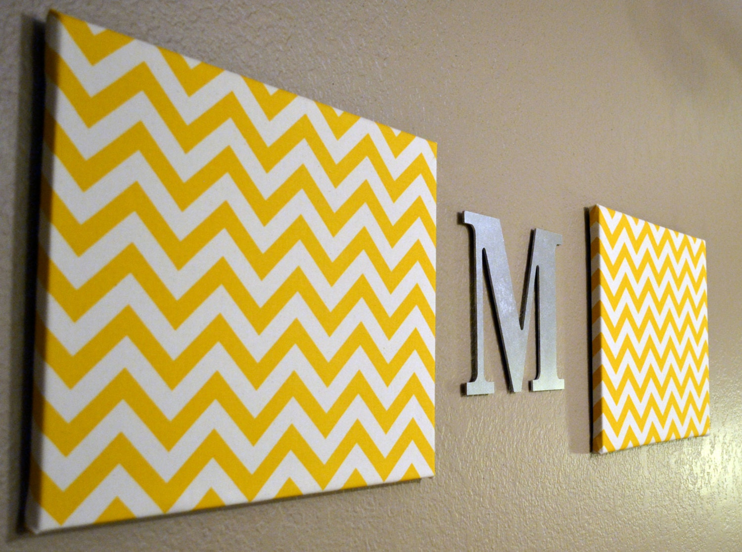 Chevron Monogram Canvas Wall Art Upholstered By GoldenPaisley