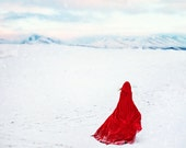 Fine Art Photography Print, Red Hood, Winter Journey Over Ice, Snow, and Mountain, Arctic Landscape, 16 x 16 Print - VanessaPaxton