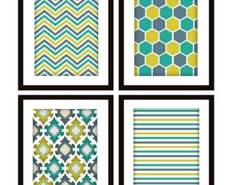 Modern Pattern Wall Art Prints, Set of 4 in ANY colors