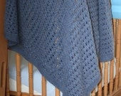 Handknitted Crib Sized Baby Blanket (Waffle Design) Various Colours