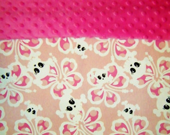Nap Mat Cover / Toddler Cot Cover with Padded Minky Dot Headrest - Tropical Skulls