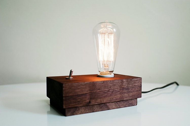 Modern Desk Or Side Table Lamp With Edison Bulb Handcrafted