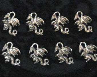 10 Silver Pewter 3D Dragon Charms