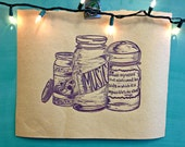 Music Mason Jar Print on Brown Craft Paper