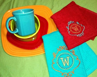 Monogrammed Kitchen Dish Towel