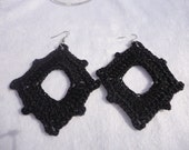 Diamond Shaped Crocheted Earrings -- Handcrafted -- Black