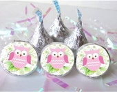 Owl Baby Girl Shower Favors Pink Candy Wrapper Stickers Hershey Kisses Labels