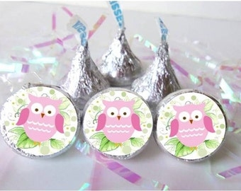 Owl Baby Shower Favors Pink Girl Decorations Birthday Party Hershey Kiss  Labels Candy Stickers