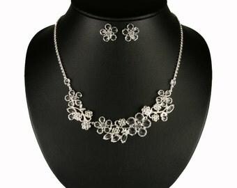 Wedding Jewelry Set - Bridal Necklace and Earrings Set - Rhinestones Jewelry Set - Flower Wedding Necklace Set - Bijoux Mariées