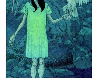 Giclee print on watercolor paper, Ghost