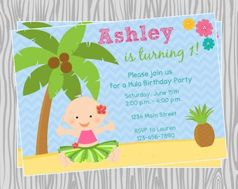 DIY -Luau Baby Girl First Birthday Invitation - Coordinating Items Available