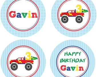 DIY - Boy Monster Truck Birthday Cupcake Toppers- Coordinating Items Available