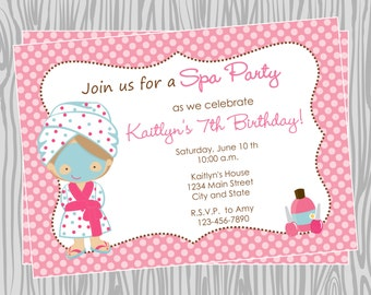 DIY - Girl Spa Birthday Party Invitation - Coordinating Items Available