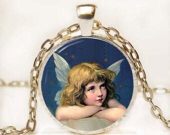 Little Angel Necklace Glass Art Pendant Picture Pendant Photo Pendant Altered Art Pendant