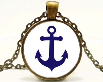 Anchor Pendant Altered Art Pendant Nautical Necklace Bue and White
