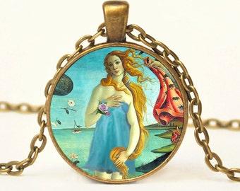 Venus in her Prom Dress Art Pendant Altered Art Pendant Necklace Botticelli Jewelry