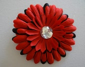 Red Black Childs Flower Hair Clip / Perfect for Headband or Tutu