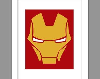 Digital Download Iron Man Superhero Poster Print Art - Boys Room - 8x10, 11x14, 12x18  Iron Man Superhero Print
