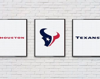 Digital Download Set of 3 Houston Texans Poster Set Typography Poster Print - Game Room - Boys Room - 8x10 11x14 12x18