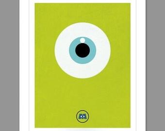 Digital Download Monsters Inc. Big Eye Poster Art Nursery Art Print, Walt Disney Monsters Inc. Nursery Art Boys Room - 8x10 or 11x14