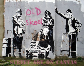 Banksy canvas Old Skool Street Art Graffiti Premium Print