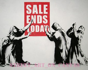 Banksy canvas Sale Ends Today Street Art Grafitti Premium Print