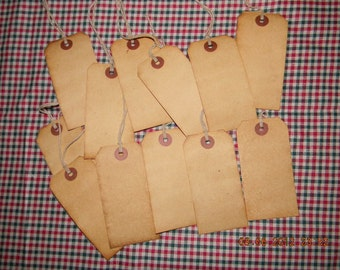 50 Large blank coffee stained primitive hang tags lot with string