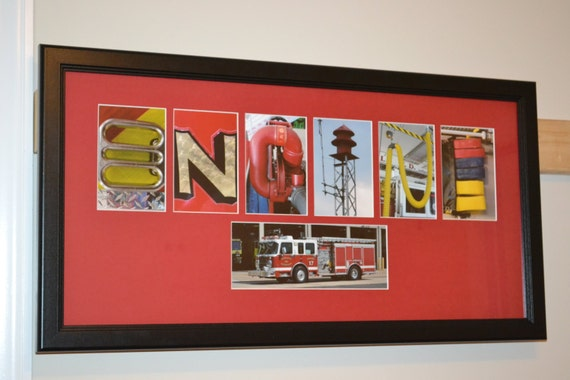 Items similar to personalized firefighter letter art for Personalized firefighter letter art