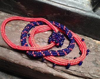 Bracelet set: matte red and shiny cobalt blue beaded