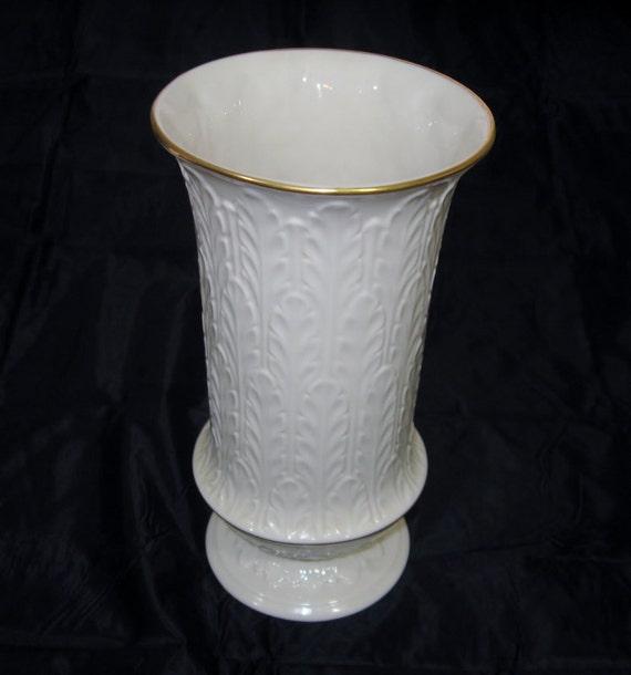 Vintage Wheat Logo Collection:  Vintage Lenox Vase Autumn Leaf Pattern Tall
