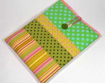 Padded iPad Cover, Handmade Green and Pink iPad Case
