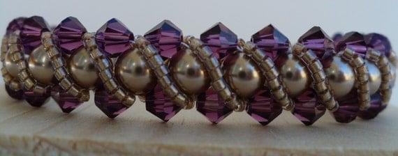 Purple and Gold Bracelet, Pearl Bracelet, Minnesota Viking Bracelet, Light Gold Swarovski Pearls and Amethyst Crystal Bracelet - 7 Inches