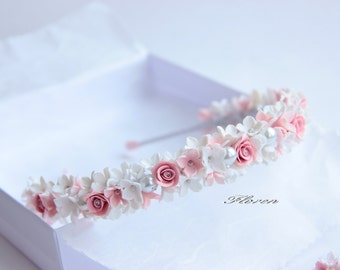 White hair accessory, Headband, flower Headband, polymer clay, girl, wedding, rustic