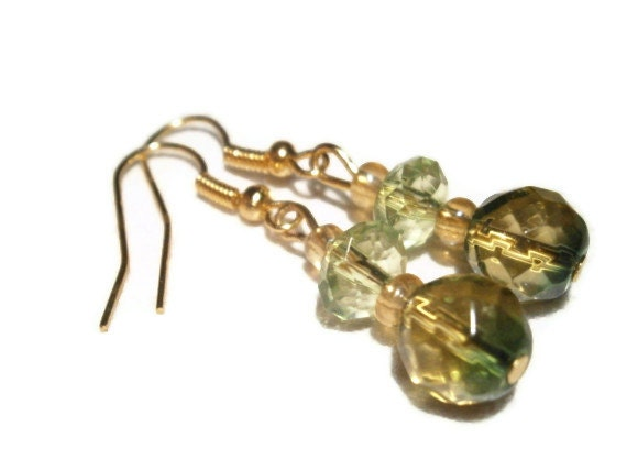 Green and Gold Dangle Earrings, with Faceted Rondelle, Glass Beads, Seed Beads, Nickle Free