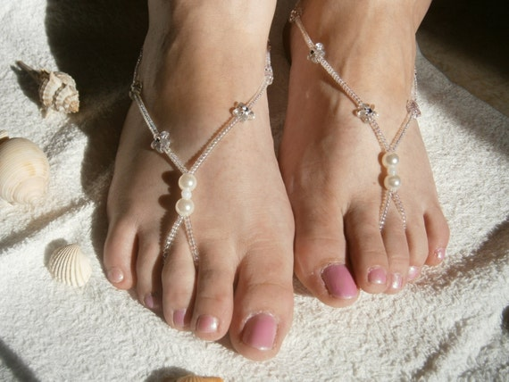 White Barefoot Sandals, Flower Sandles, Slave Anklet, Nude Shoes, Bridal sandals, Beach Wedding