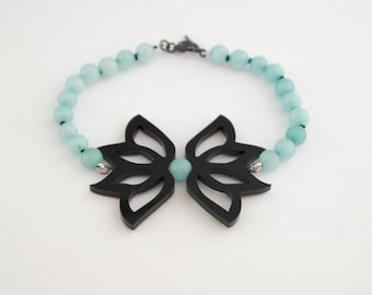 Black Acrylic and Turquoise Bracelet