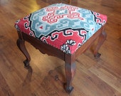 Antique Foot Stool, Kilim Upholstered Ottoman...