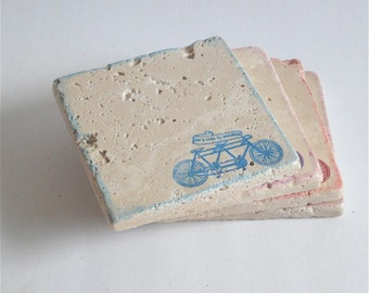 "Bicycle Coasters ""Let's Ride Together"" -Set of 4 Coasters"